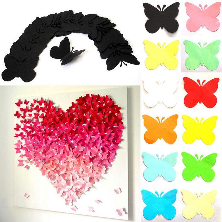 Pas cher 20 pcs un ensemble 3d papillons d coratifs for Decoration murale papillon 3d