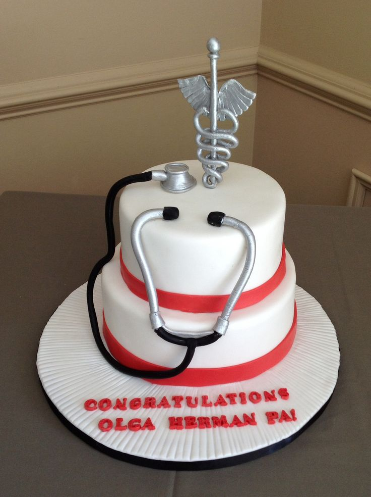 Graduation cake, physician assistant cake.