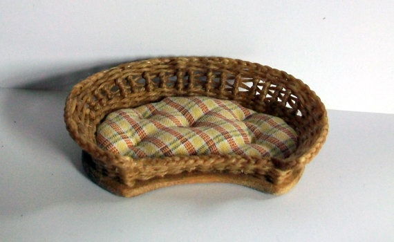 Miniature Woven Wicker Pet Bed 1 inch by MarquisMiniatures on Etsy, $20.00