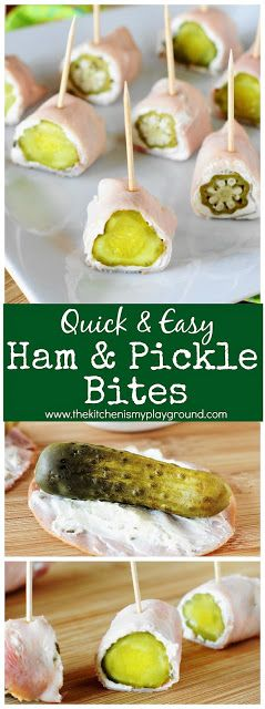 Easy 3-Ingredient Ham & Pickle Bites ~ These low-carb bites may just be easiest little party snack around! And they're simply delicious, too. #partyfood #3ingredients #lowcarb #lowcarbsnacks #thekitchenismyplayground www.thekitchenismyplayground.com
