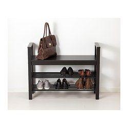 HEMNES Bench with shoe storage - black-brown - IKEA