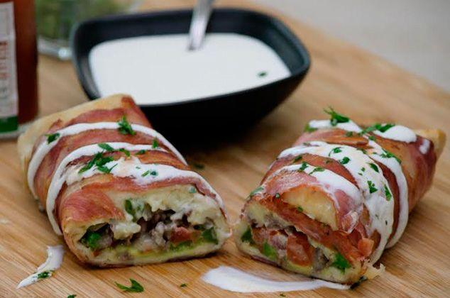 Receta De Burrito Norteño De Bistec Envuelto En Tocino Cocina Vital Burritos Recetas Bistec De Res Recetas Recetas Con Res