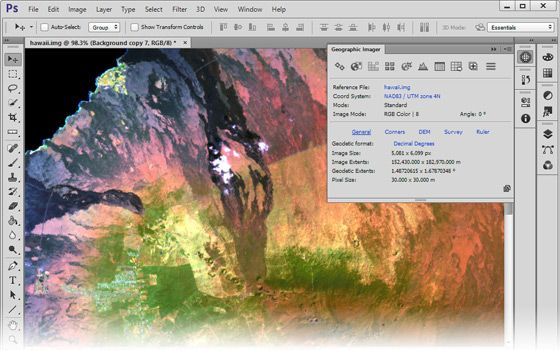 Geographic Imager enhances Adobe Photoshop to make working with spatial imagery like GeoTIFF quick and efficient
