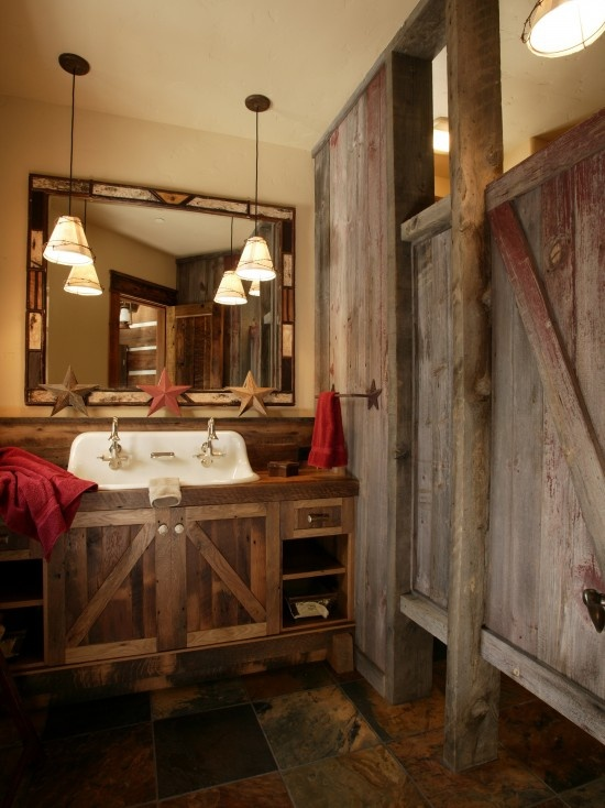 22 Rustic Barn Bathroom Design Ideas : Fabulous Rustic Barn Bathroom Mirror  And Wooden Door Part 46