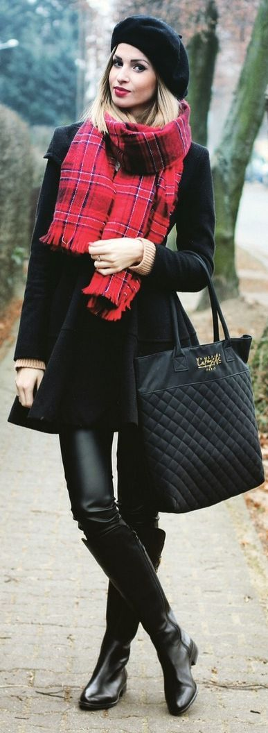 Red/black/white tartan scarf w/ matching smile, black fleece coat & beret, black leather pants & boots