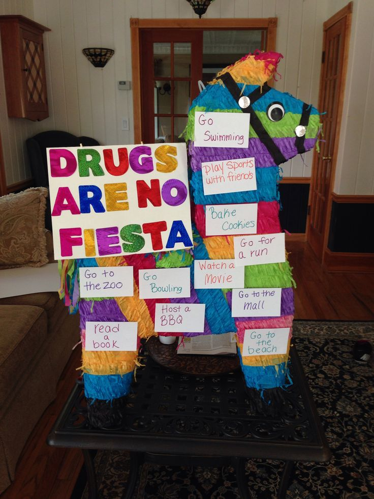 Instead of a bulletin board you can use this to have students come up with drug free activities. Can be used in a health class or regular classroom in honor of red ribbon week. All you need is a piñata and index cards for student responses! Simple and creative