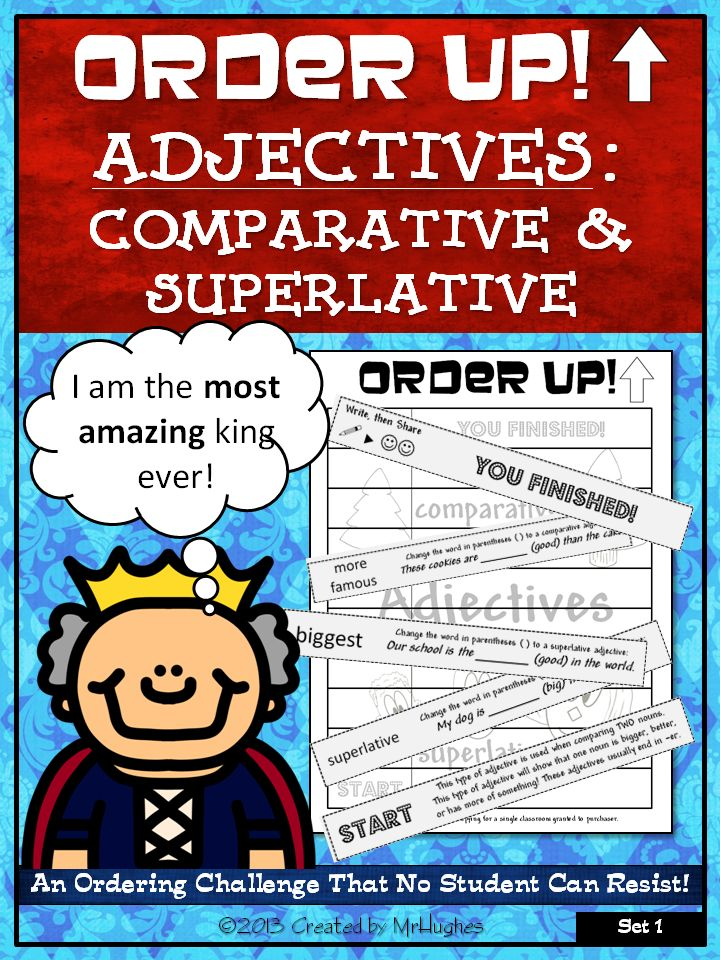 This set of ORDER UP! focuses on practicing identifying and using comparative and superlative adjectives. This set will make the perfect assessment or review tool.  It has 2 questions each about just adding -er, -est, irregular adjective forms (like best to better) and adding more and most for words with 3 syllables. Look for more sets in the future to focus on each of the three types. ($)