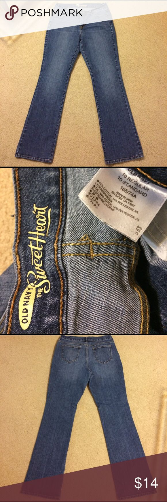 """Old Navy """"the Sweetheart"""" Cut Blue Jeans Gently worn. Old Navy """"the Sweetheart"""" Cut Blue Jeans women's Size 10 with 30 inch inseam. No rips, stains or tears. Non smoking home. Old Navy Jeans Boot Cut"""
