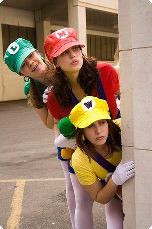 MINDI & BRANDI - this would be fun for this halloween! unless mindi wants to be a penguin again. haha! Group Costume: Mario, Luigi, Wario