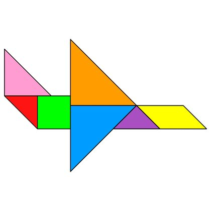 Tangram Plane - Tangram solution #58 - Providing teachers and pupils with tangram puzzle activities