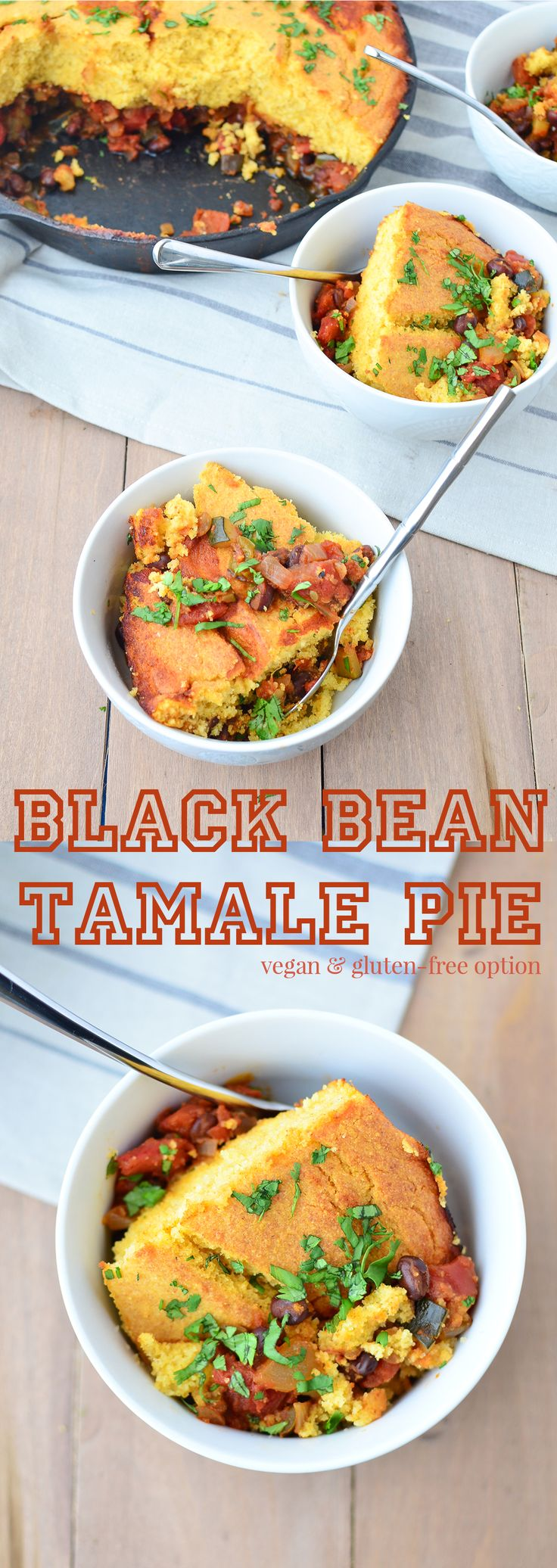 Black Bean Tamale Pie recipe! This weeknight meal is healthy and filling! Black Bean and Zucchini Chili topped with homemade cornbread, baked to perfection! Vegan with Gluten-Free option | www.delishknowledge.com