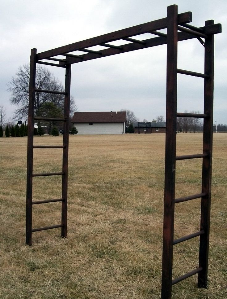 Rustic Wooden Ladder Arbor - Three 7 Rung Ladders