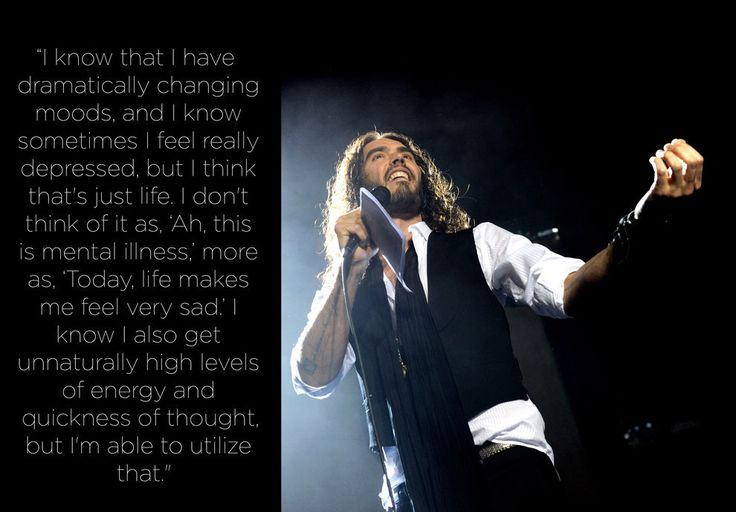 Russell Brand | The actor-comedian copes with his depression by channeling it into his art.