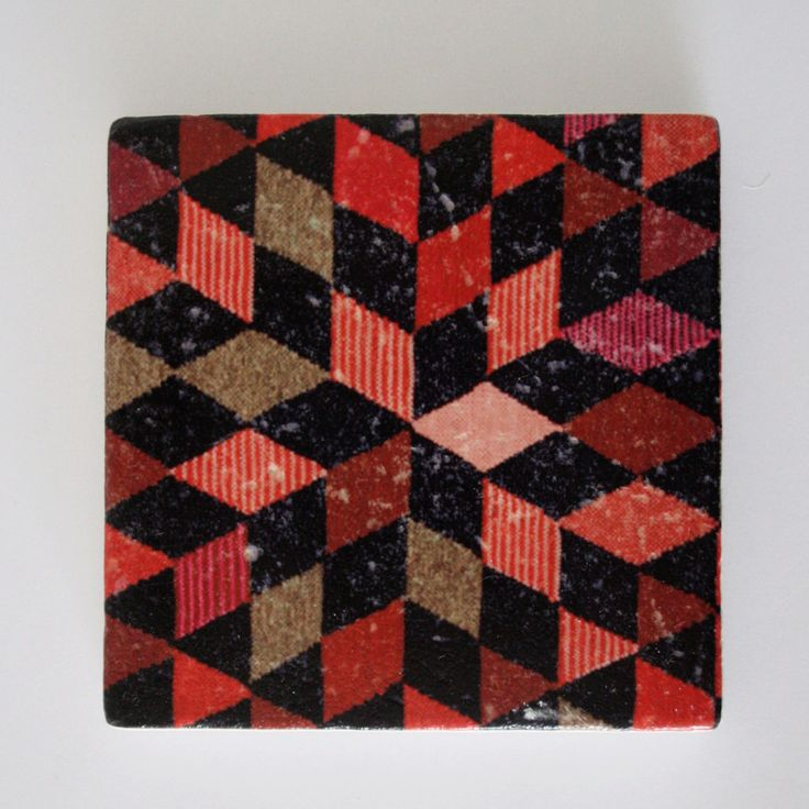 Diamond Kilim Print Travertine Stone Coaster