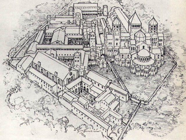 Disegno che rappresenta la struttura originaria dell'abbazia di Cluny, Cluny (Borgogna), Francia.