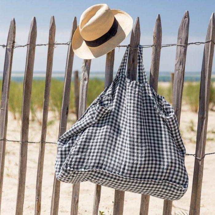 Grand sac cabas en lin lavé vichy anthracite Linge Particulier · Photo Le  Petit Florilège · Richard Malaurie   Sac et pochette   DIY Tote Bag, ... a12133b981ce