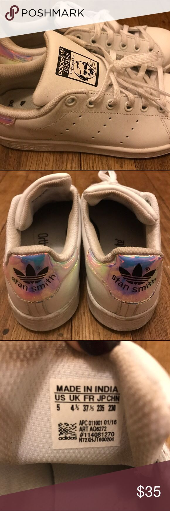 iridescent girls womens size 7 stan smith classic white with iridescent pink