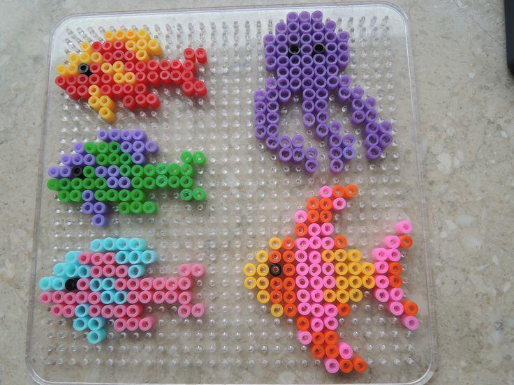 Fische aus Bügelperlen - Hama Perler Beads