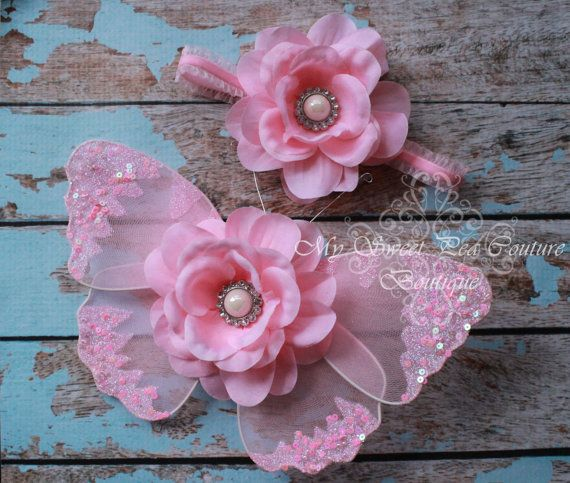 Posh Pink Butterfly Wing Set Newborn Baby by MySweetPeaCouture