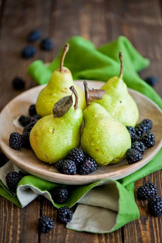 Blackberries and Pears....all along our fences in the fields they grow for June harvest