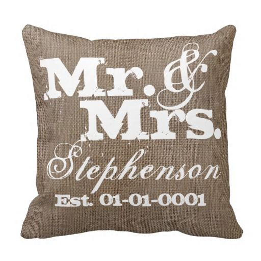 Personalized Rustic Burlap-Look Wedding Keepsake Throw Pillow