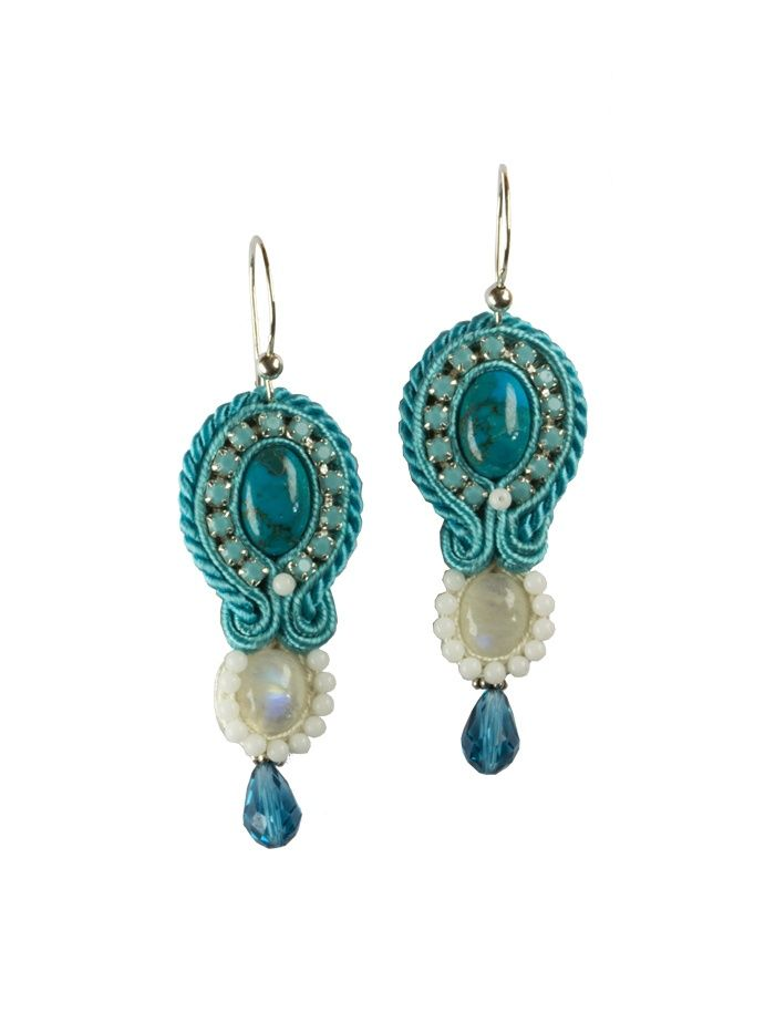 Soutache earrings - Santorini   with turquoise, moonstone, jadeite and Swarovski crystals and cup chains. Jewelry inspired by wonderful greek island - Santorini.
