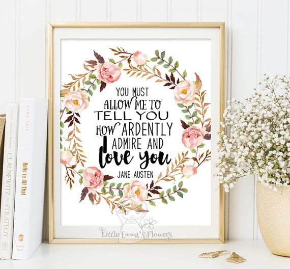 Printable Jane Austen quote print wall art par LittleEmmasFlowers