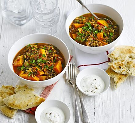 A storecupboard spice pot with red and green lentils, chickpeas and coriander. Serve with yogurt and naan bread