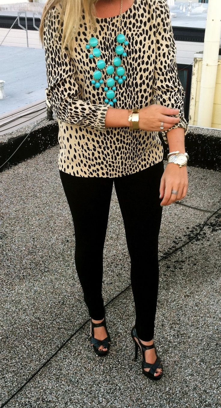 Great outfit for work or play. Leopard print shirt, black pants, turquoise bubble necklace.