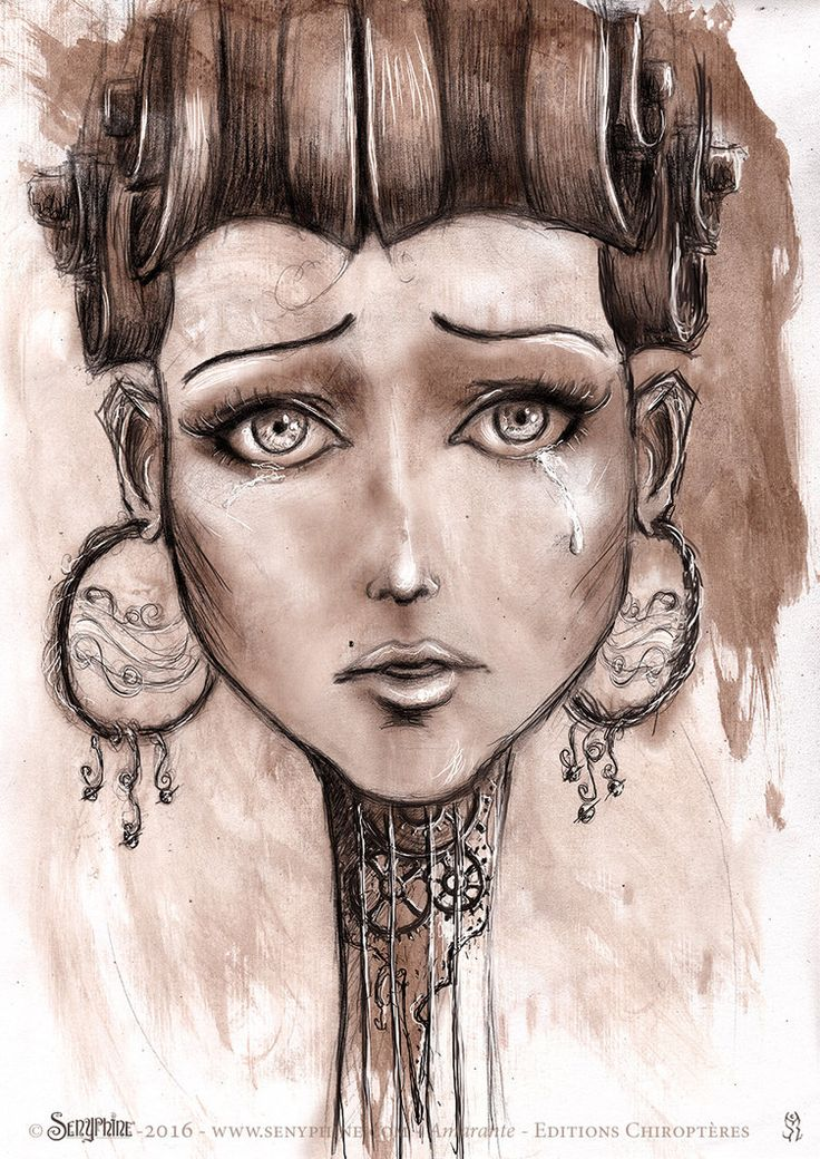 "Illustration taken from the graphic book ""Amarante"". Written by the talented Pierre Benazech. Published by the Chiropteres Editions. #portrait #girl #steampunk #ink #graphite #illustration #drawing"