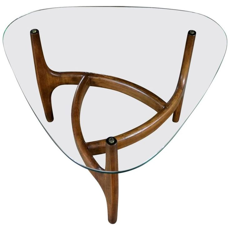 Adrian Pearsall Style Triangular Glass Top Side Table, Mid-Century Modern | From a unique collection of antique and modern end tables at https://www.1stdibs.com/furniture/tables/end-tables/