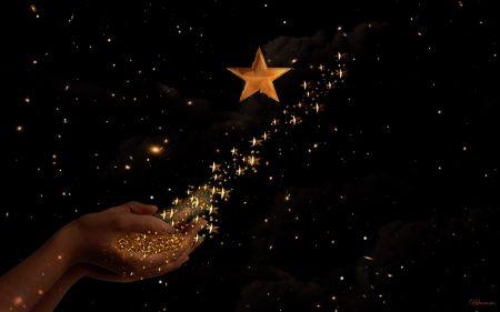 *Go and shine...* - golden stars, fantasy, stars, woman, sky, hands, time, night, gold, dark sky