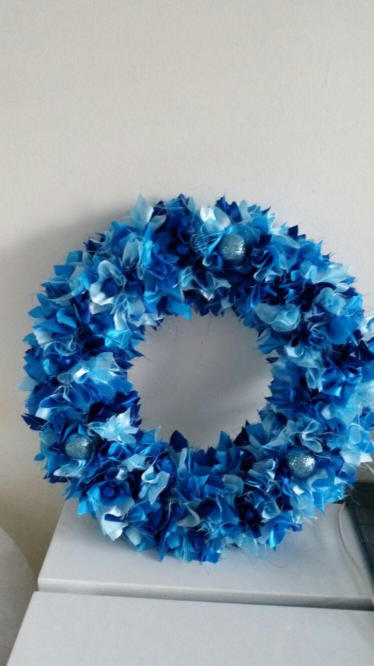 "12"" Blue Satin Scrappy Christmas Wreath"