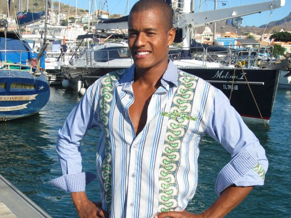 Mens nautical shirt blue and white top custom by africanbaskets