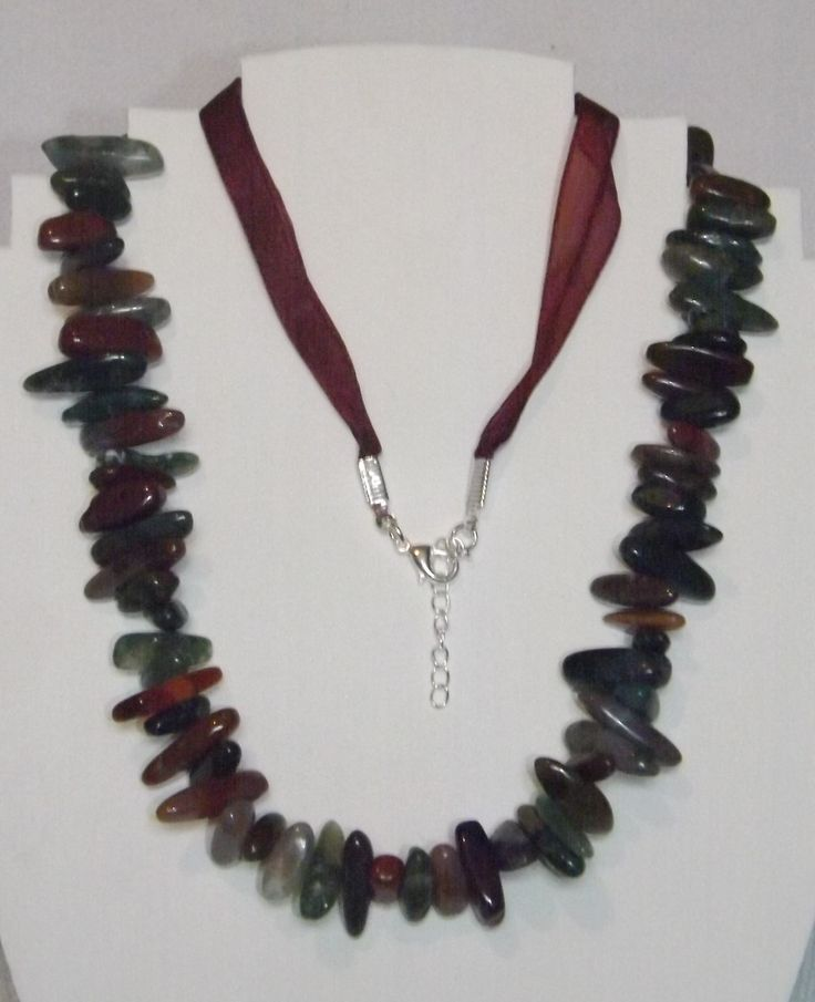 Jasper long nuggets combined with organza ribbon