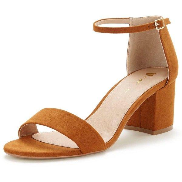 fec84e6dcae2 V By Very Houghton Nbsp Low Block Heel Strap Sandal Nbsp  (£25) ❤ · Tan  FersenKnöchelriemen HackenschuheRiemensandalenBlockabsatzExtravagante Schuhe  ...