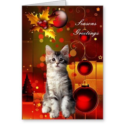 Card Christmas Cat Kitten