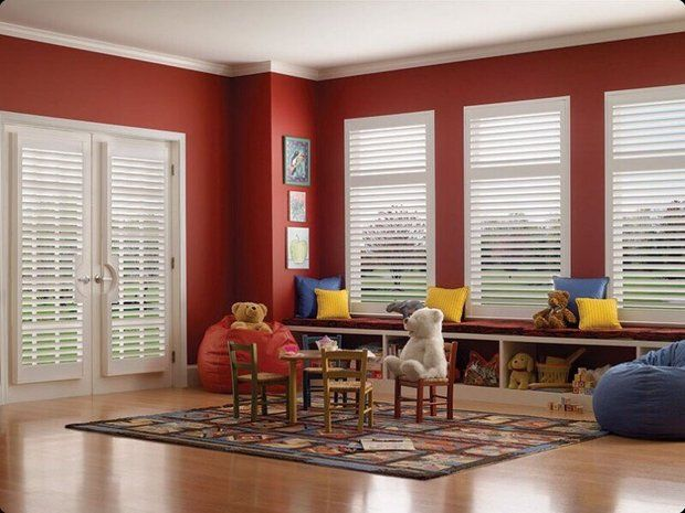 Transitional Kids Room in Brentwood - red wall paint, light hardwood floor | by Catalog Blinds