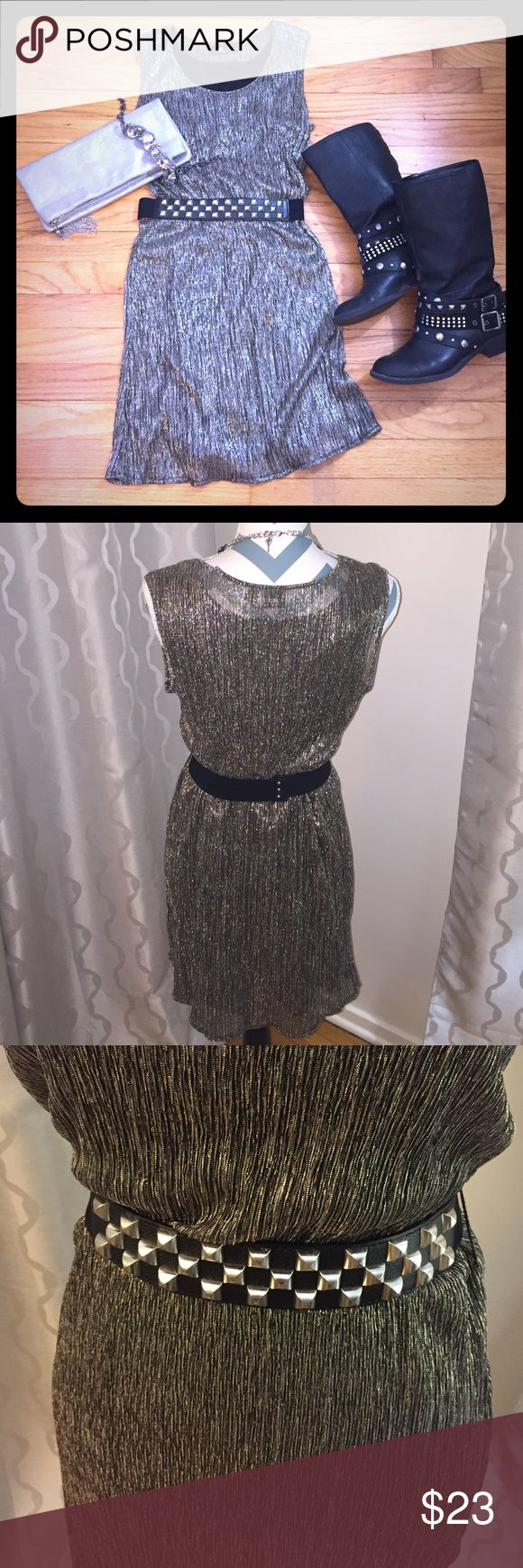 Rock & Republic silver sparkly dress with belt. Rock & Republic silver sparkly dress with studded belt. Great dress for a night out. Belt adds a touch of extra detail. Great condition, worn once. Clutch and boots are also available for sale in my closet; bundle and save! No trades. Thank you! Rock & Republic Dresses