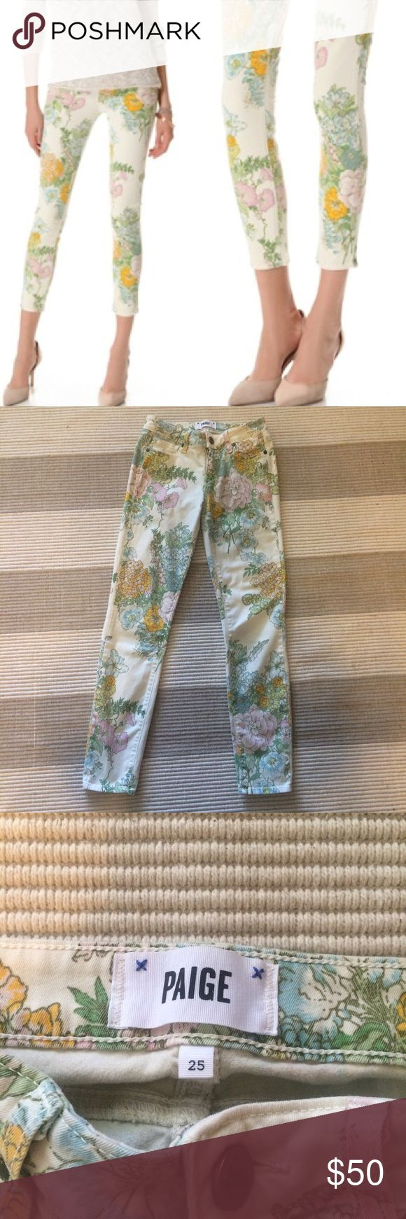 "Paige Floral Skinny Jeans/Sale Price July 4th Perfect Summer Jeans! Approx 27"" long and rise is 7"". Paige Jeans Jeans Ankle & Cropped"