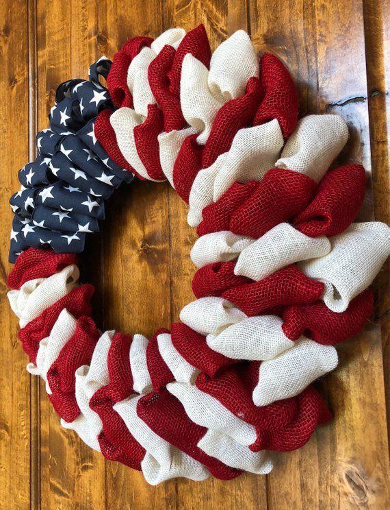 American Flag Patriotic Wreath Door Wreath Summer Wreath Spring Wreath Burlap Wreath 4th of July Wreath