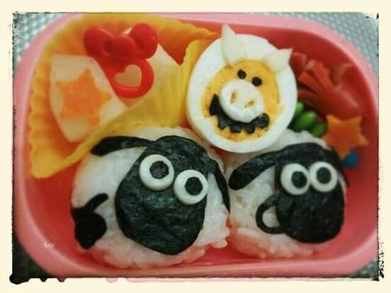 "Shaun the Sheep riceballs and Naughty Pig boiled egg. FindoutmorecharacterbentosonFacebooksite""Cool&KawaiiCharacterBento""!!"