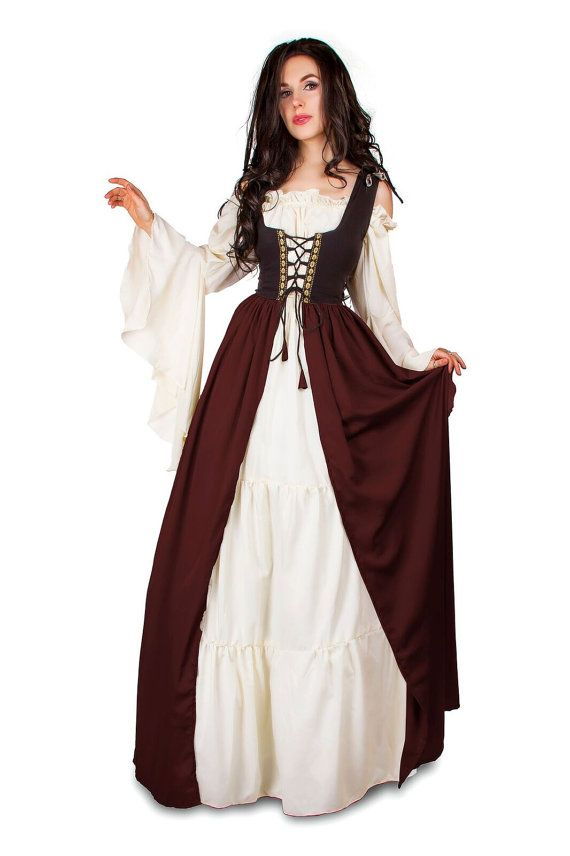 Renaissance Medieval Irish Costume Two-Toned Over Dress Fitted Bodice Burgundy 4XL/5XL