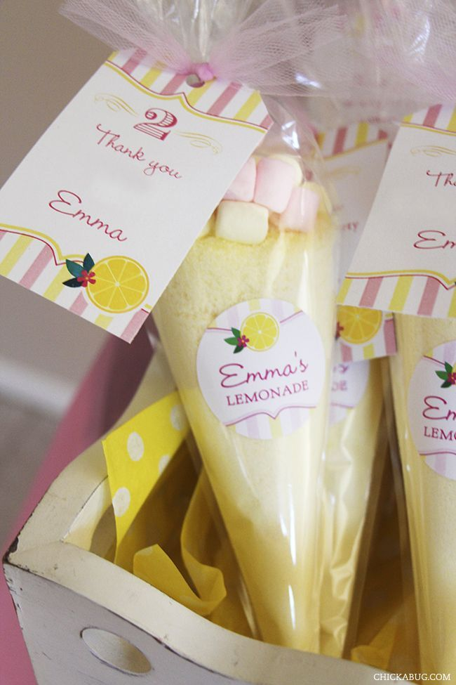 Fill up baggies with lemonade mix and marshmallows for a easy party or wedding favor!