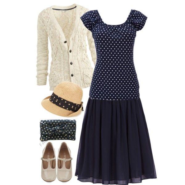 """Vintagey Polka Dots"" by jamie-burditt on Polyvore  #Modest doesn't mean frumpy. #DressingWithDignity www.ColleenHammond.com"