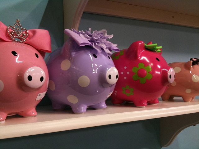 Cute Piggy Banks Girls Pink Purple Dots Bows by Philip Taylor PT, via Flickr. Your favourite piggy bank: http://www.helpmetosave.com/2012/02/piggy-bank/