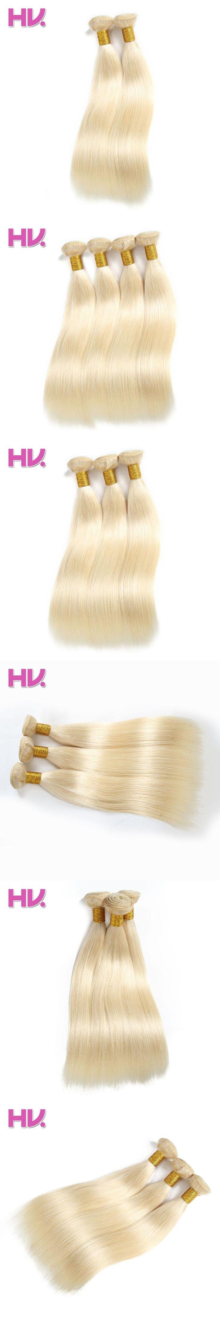 Hair Villa Pre-colored Non-Remy Hair Weft Human Hair Weave Brazilian Straight Hair Weave #613 10-24 inch