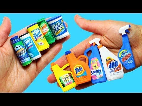 10 Easy DIY Miniature Cleaning Products- Each in less than 1 minute - YouTube