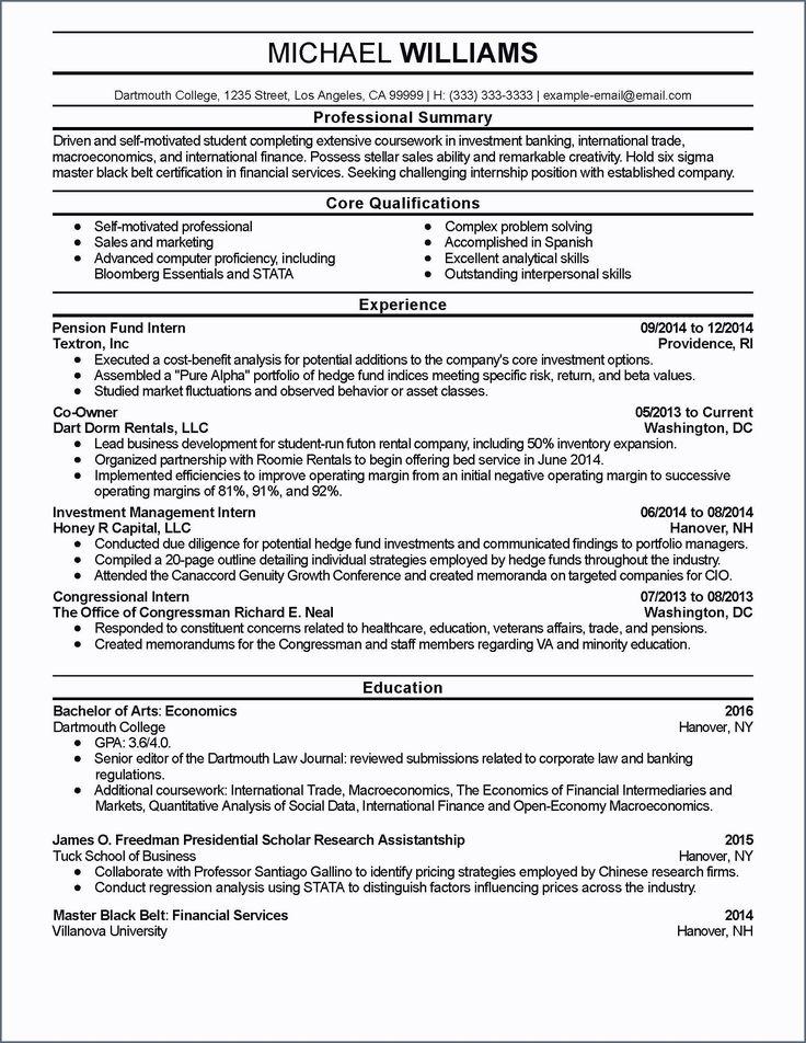 32 Unique Sample Investment Banking Resume in 2020