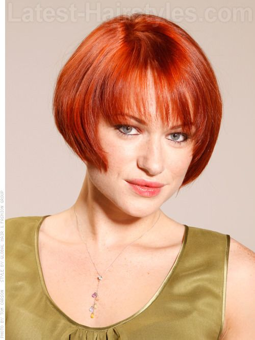 Copper Cougar Red Soft Shiny Bob Front View